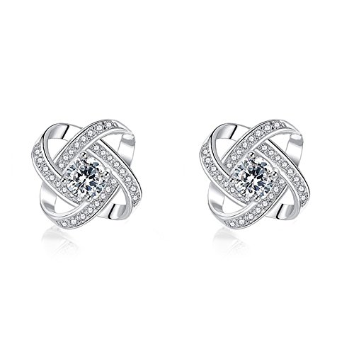 (Hanloud Love Knot CZ Stud Earrrings Elegant Twisted Earrings Wedding Gift Jewelry)