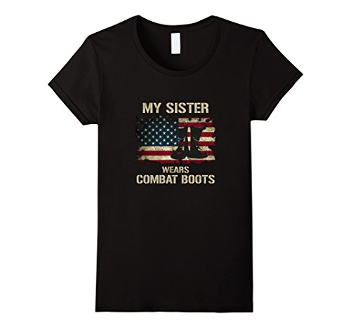 Womens Army My Sister Wears Combat Boots Proud Brother T-shirt Large Black ()