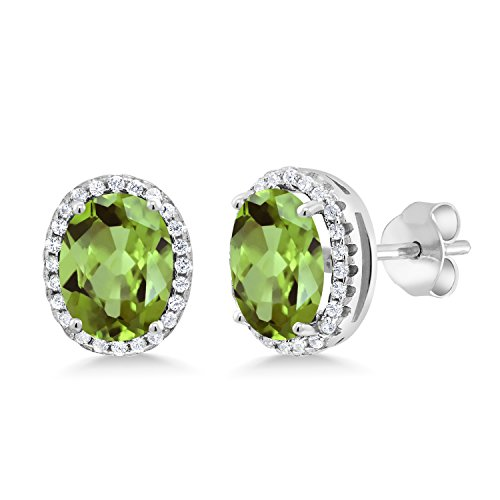 Gem Stone King Green Peridot 925 Sterling Silver Earrings 4.08 Ct Oval 9X7MM Gemstone Birthstone ()