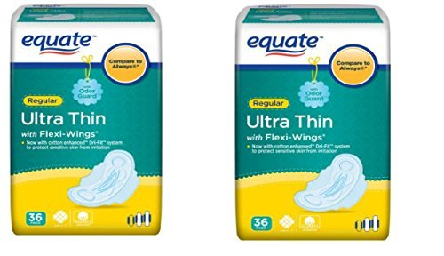 Regular Ultra Thin Pads With Flexi-Wings a Softer, Moisture Wicking Surface That Helps Prevent Skin Irritation 36 count (2 pack)