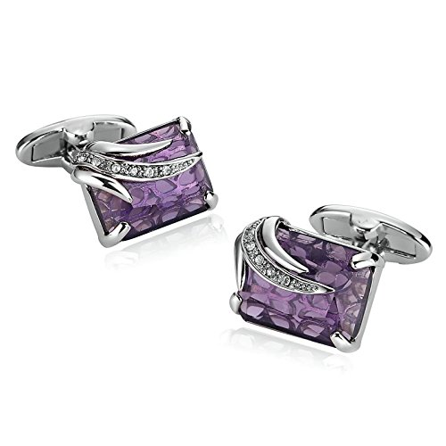 Cufflinks Silver Symbol (Aooaz Stainless Steel Cufflinks For Men Crystal CZ Rectangle Pattern Silver Purple Unique With Gift Box)