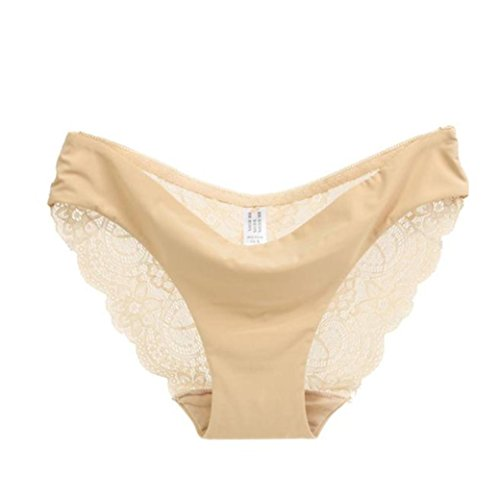 Shybuy Women's Underwear, Lace Trim Cotton Briefs Panties Comfort Soft Mid-Rise Briefs (M, Beige)