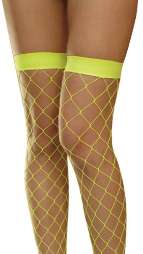 db1868e9f Image Unavailable. Image not available for. Colour  Large Diamond Neon  Yellow Fishnet Hold Up stockings ...