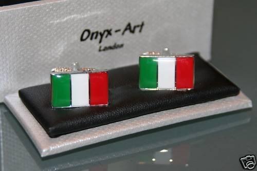 Onyx Art Men's Novelty Cufflinks - Italy Italian Flag Design ()