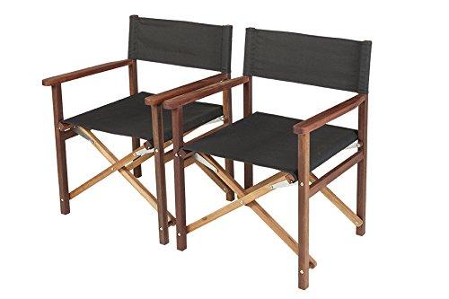 Luxus Regiestuhl Antro von exklusiven Mahagoni (2 Stück) Stahlteile aus Edelstahl, Faltstuhl Holzstuhl Gartenstuhl klappbar