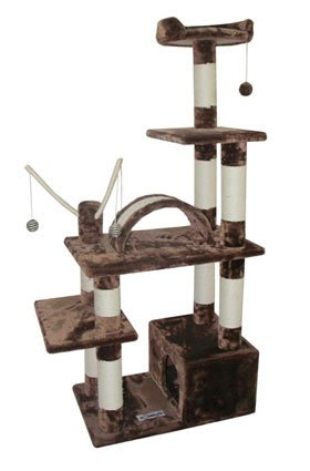 Cat Tower Tree with House, Perch Bed and Toys, Beige