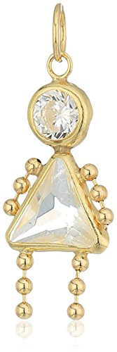 10K Gold AAA Cubic Zirconia Simulated Birthstone Babies Girl Charm, April