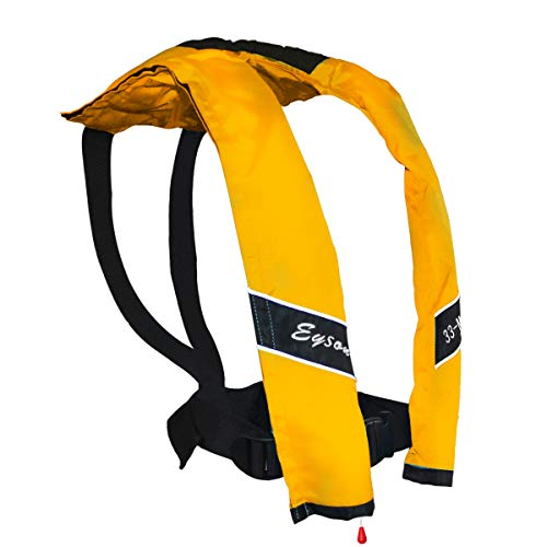 Eyson Slim and Neckline Comfortable Inflate Inflatable PFD Survival Aid Sailing Life Jacket Vest Universal Adult Manual (Yellow)
