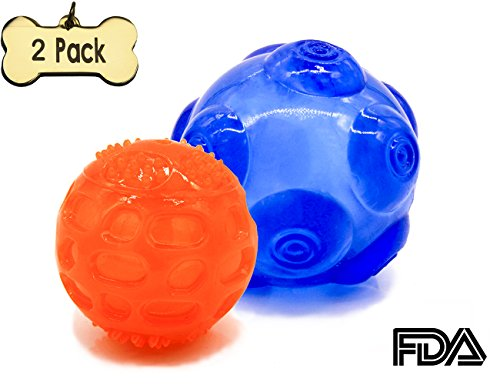 [해외]Mog&Lenny Soft Rubber Dog Balls Strong Bite ResistantSqueaky Balls for Small,Medium and Large Dogs(Yellow and Blue) / Mog&Lenny Soft Rubber Dog Balls Strong Bite Resistant Squeaky Balls for small,medium and large dogs(Blue and Ora...