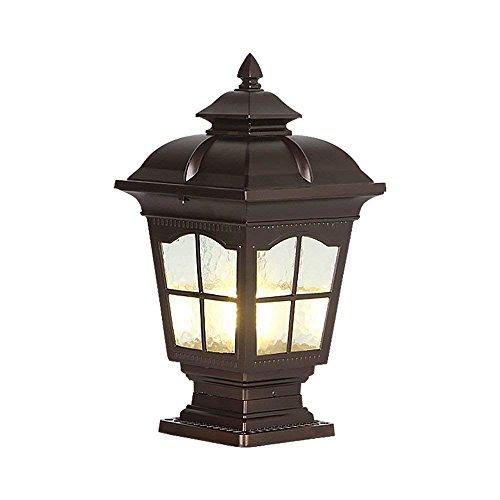 (Column Post Light Vintage Metal Pillar Pole Lamp with E27 Socket Landscape Lighting Fixture Garden Fence Lawn Patio Fence Lamps Doorway Waterproof Outdoor Lighting (Color : Black))