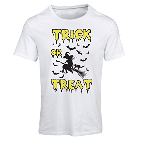 lepni.me T Shirts for Women Trick or Treat - Halloween Witch - Party outfites - Scary Costume (X-Large White Multi Color) ()