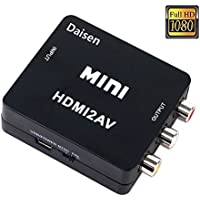 DAISEN HDMI to AV Converter 1080p HDMI to RCA CVBS AV Composite Adapter HDMI 2 AV Converter support PAL/NTSC TV format output (HDMI to AV+Black)