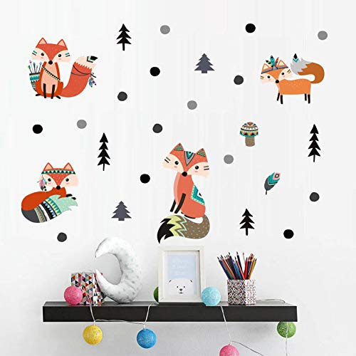 - Fox Wall Decal, H2MTOOL Removable Forest Animal Wall Stickers for Kids Room Decor (Fox Forest)