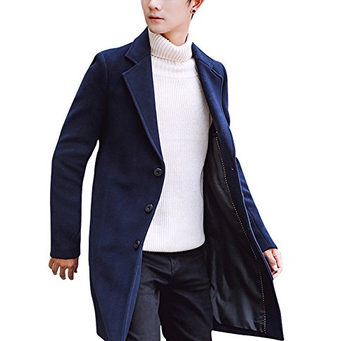 Helisopus Men's Single Breasted Button Regular Long Jacket Wool Overcoat Outwear Trench Pea (Us Navy Style Mens Peacoat)