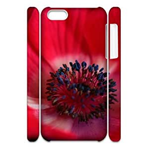 3D IPhone 5C Cases Red Flower Macro, - [White] Dustin