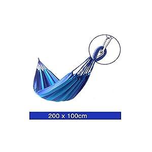 doting 200100cm Single ampliado hamaca, algodón hamaca Turismo Camping Caza Ocio al aire libre Hamacas de rayas tela azul