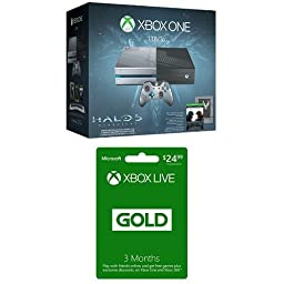 Xbox One 1TB Console - Halo 5: Guardians Limited Edition Bundle + 3 Month Live Card [Physical Card with Code]