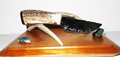Rare Burns Green Flintknapped Knife w/ Elk Handle & Malachite End Cap 8