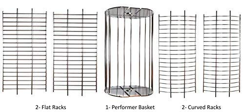 OneGrill Performer Series Kamado Grill Fit Rotisserie Spit Rod Basket; Stainless Steel Tumble & Flat Basket in One. (Fits 5/16 Inch Square Spits) by OneGrill BBQ Products (Image #2)