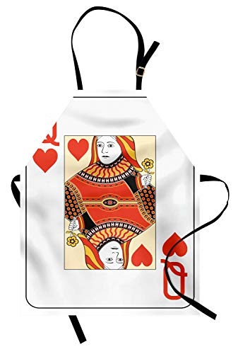 Ambesonne Queen Apron, Queen of Hearts Playing Card Casino Design Gambling Game Poker Blackjack, Unisex Kitchen Bib Apron with Adjustable Neck for Cooking Baking Gardening, Vermilion Yellow]()
