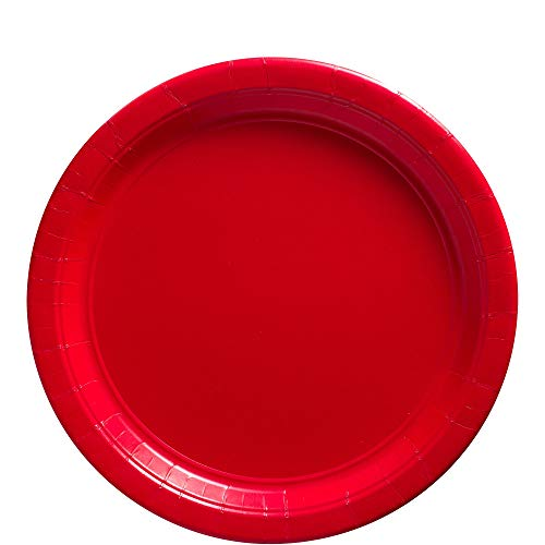 Apple Red Dinner Paper Plates Big Party Pack, 50 Ct. -
