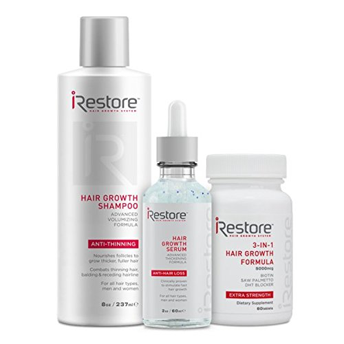 Price comparison product image iRestore Fast Hair Growth Bundle includes the 3-in-1 Hair Growth Supplement, Hair Growth Serum, and Hair Growth Shampoo to combat hair loss