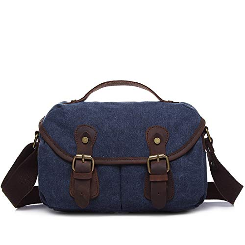 Simple Borsa uomo Canvas a Armygreen Zipper Purse Ploekgda scuro Retro per Messenger colore Blu tracolla n5xHYqnRv
