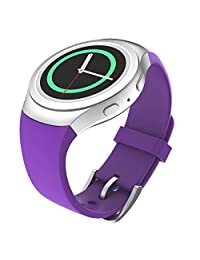 Gear S2 Watch Band, MoKo Soft Silicone Replacement Sport Band for Samsung Gear S2 (S2 SM-R720 / SM-R730 ONLY) Smart Watch, NOT FIT S2 Classic (SM-R732 & SM-R735), NOT FIT Gear Fit2, PURPLE