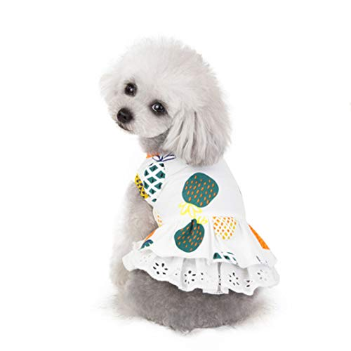 YOTATO Summer Pineapple Dog Dress Cotton Pet Cat Clothes Puppy Kedi Skirt Clothing -