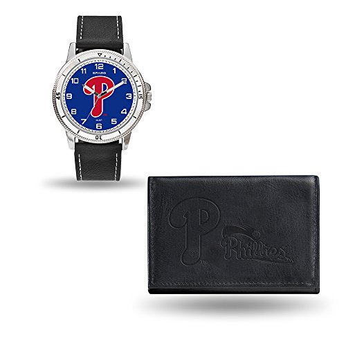 Phillies Baseball Leather Philadelphia (MLB Philadelphia Phillies Men's Watch and Wallet Set, Black, 7.5 x 4.25 x 2.75-Inch)