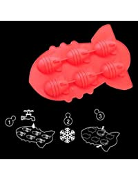 PickUp 6x Novelty TPR Household Party Bomb Shaped Freeze Ice Mold Tray-red offer