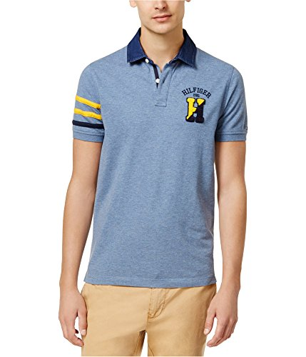 Tommy Hilfiger Mens Contrast-Trim Rugby Polo Shirt, Blue, X-Large