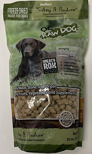 OC Raw Meaty Rox Turkey and Produce Freeze Dried Dog Treats, 20 -z Bag