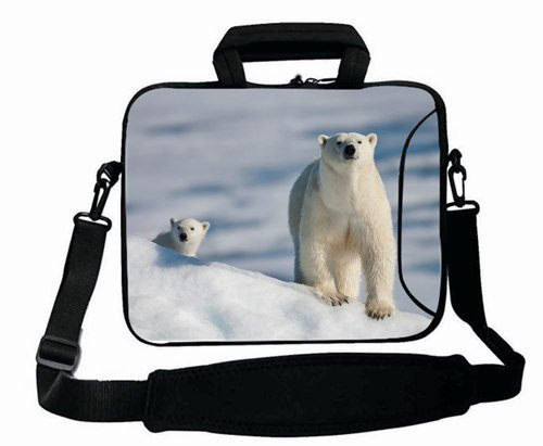 Fashionable Designed ( Animals bear white Bear snow sea ) Laptop Bag Suitalbe Boy's (15