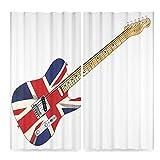 TecBillion Union Jack Door Curtain,Classical Electric Guitar UK Flag Great Britain Music Instrument