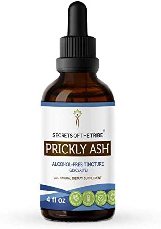 Prickly Ash Alcohol-Free Liquid Extract, Wildcrafted Prickly Ash Zanthoxylum Clava-herculis Dried Bark Tincture Supplement 4 FL OZ