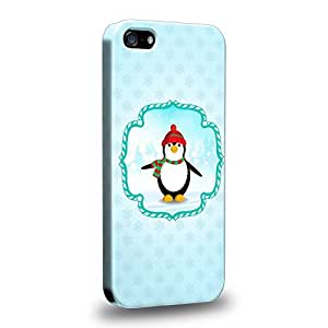 Case88 Premium Designs Art Christmas Classics Series Christmas Penguin Protective Snap-on Hard Back Case Cover for Apple iPhone 5 5s