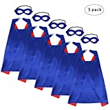 iROLEWIN Children's Superhero Capes Mask Set - Boys Girls Cosplay Fancy Capes - Kids Dress up Holiday Party (Blue-Red)