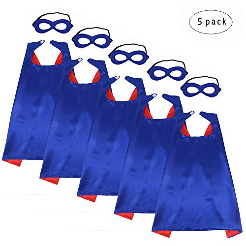 iROLEWIN Children's Superhero Capes with Mask Set - Boys and Girls Cosplay Fancy Capes - Kids Dress Up Holiday Party (Blue-Red)