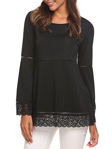 Unibelle Women Casual Flare Sleeve Lace Splice Loose Trim Blouse Tops,Large,Black