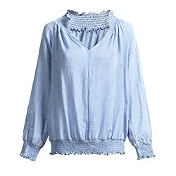 Orchidamor Womens Clothing For Women Daily Cotton Linen Solid Long Sleeve Loose V Neck Tops Casual Blouse Blue