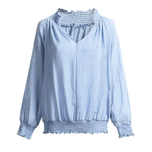 f0a355bdcab4a1 Womens Crop Tops Long Sleeve,BCDshop Cute Linen Loose Sexy V Neck Casual  Blouse Shirt