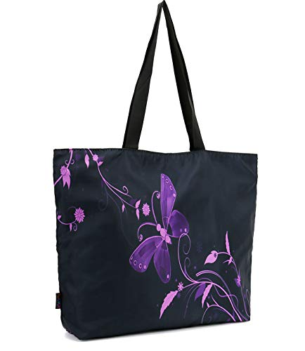 ICOLOR Purple Butterfly Gym Bag Tote Bags Shoulder Bag Beach Bag with Zipper for Men Women,Reusable Gym Picnic Travel Beach Shopping Work Daily Use Shoppers Tote(GymBag-09) ()