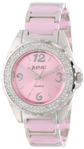 August Steiner Women's AS8036PK Quartz Crystal Ceramic Bracelet Watch