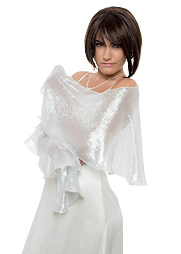 FLUTTERING SCARF. Silver White Metallic Lurex Silk Chiffon Wrap by Lena Moro