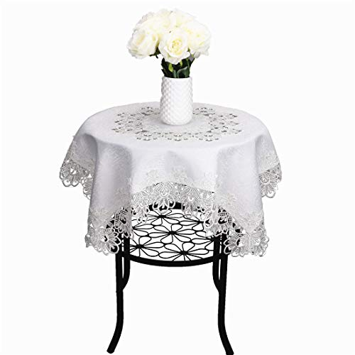 (LUCKYHOUSEHOME White Jacquard Lace 33 x 33 Inch Small Square Toppers Tablecloths Wedding Party)