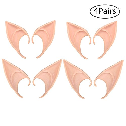 TANG SONG 4 Pairs Fairy Pixie Elf Ears, Latex Elf Ears Cosplay Masks Fairy Goblin Ears Accessories Anime Fairy Cosplay for Halloween Party Props Pointed Prosthetic Tips, 2 Sizes