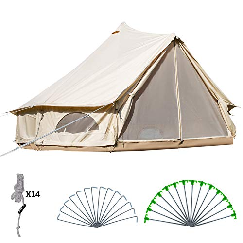 Happybuy Yurt Tent 16.4ft Cotton Canvas Tent with Wall Stove Jacket Glamping Tent Waterproof Bell Tent for Family Camping Outdoor Hunting in 4 Seasons (The Best Canvas Tents)