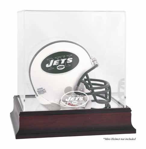 New York Jets Mahogany Mini Helmet Logo Display Case