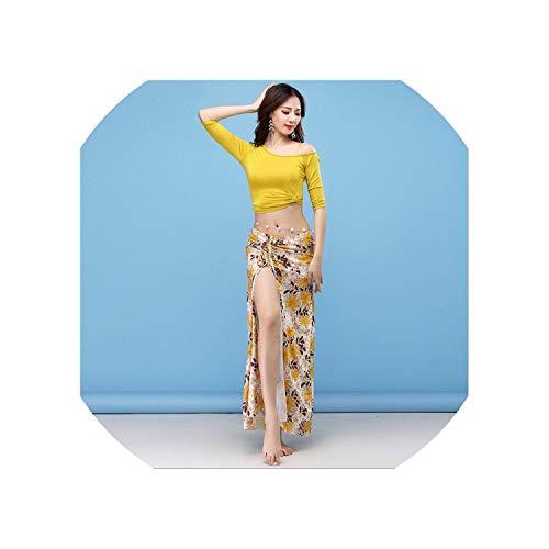 Women Belly Dance Dress Side Slit Sexy Long Skirt India Dancer Skirt,Gray,L]()